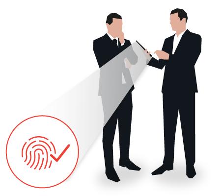 Two businessmen using biometric verification on a device