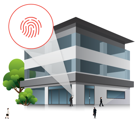 Giant fingerprint and building, representing a business